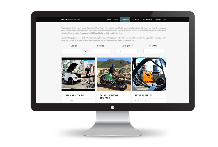 Electric Motorcycles News - dealer page