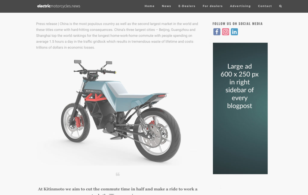 Electric Motorcycles News advertising