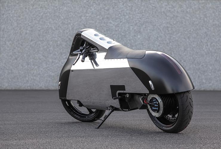 Samuel Aguiar designed an electric motorbike based on a Vectrix platform