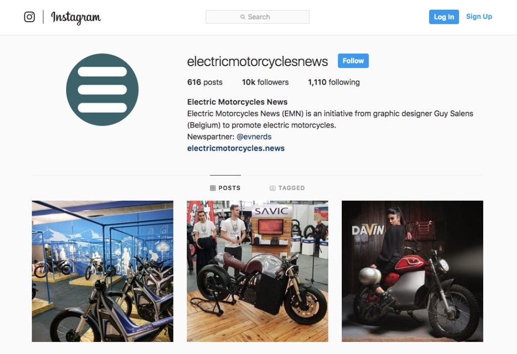 Electric Motorcycles News Instagram
