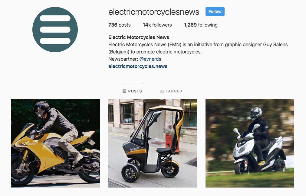 Electric Motorcycles News - followers Instagram