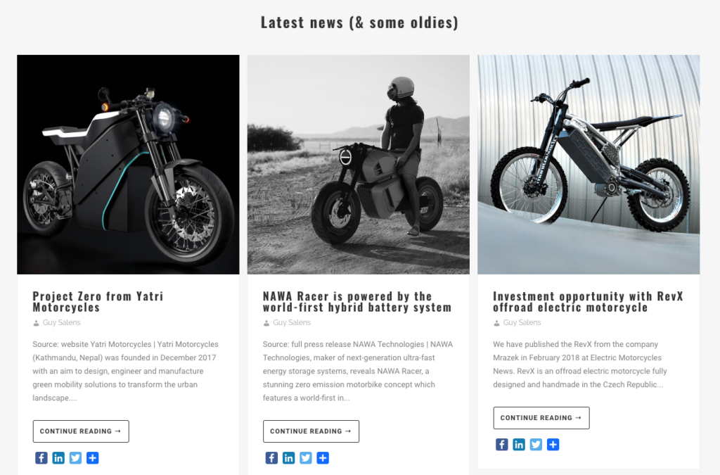 Website Electric Motorcycles News