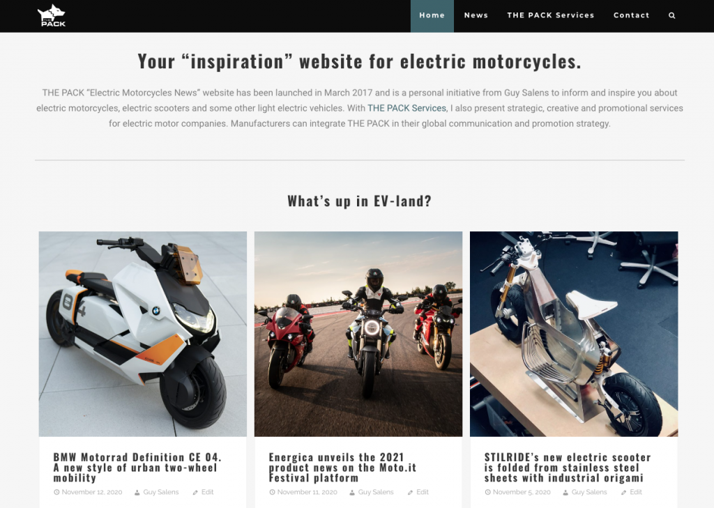 Website THE PACK - Electric Motorcycles News